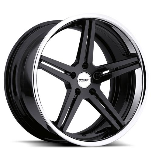 2005-14 Mustang TSW Mirabeau Wheel Gloss Black w/ Chrome Lip 20x8.5