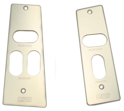 UPR Mustang Billet WIndow Switch Plates w/ Logo Polished (87-93)