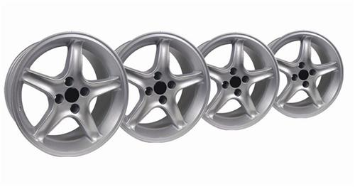 1979-93 Mustang Silver Cobra R Wheel Kit - 17X8 - Picture of 1979-93 Mustang Silver Cobra R Wheel Kit - 17X8