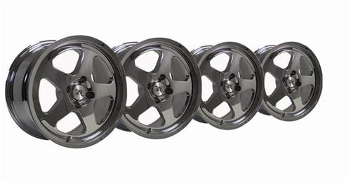 1979-93 Mustang Chrome Sc Style Wheel Kit - 17X9 - Picture of 1979-93 Mustang Chrome Sc Style Wheel Kit - 17X9