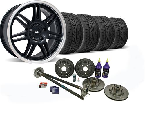 SVE Mustang 5-Lug Conversion Wheel & Tire Kit 17x9 Black (87-93) Nitto NT555