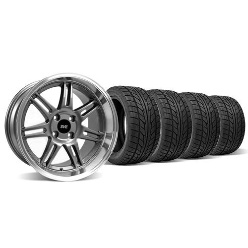 Mustang Anniversary Staggered Wheel & Tire Kit - 17x9/10 Anthracite  (79-93) Nitto NT555