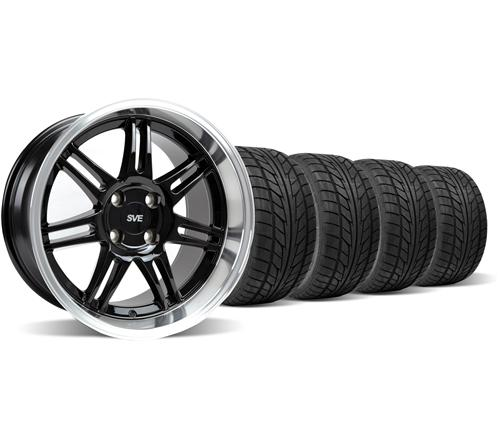 Mustang Anniversary Staggered Wheel & Tire Kit - 17x9/10 Black  (79-93) Nitto NT555