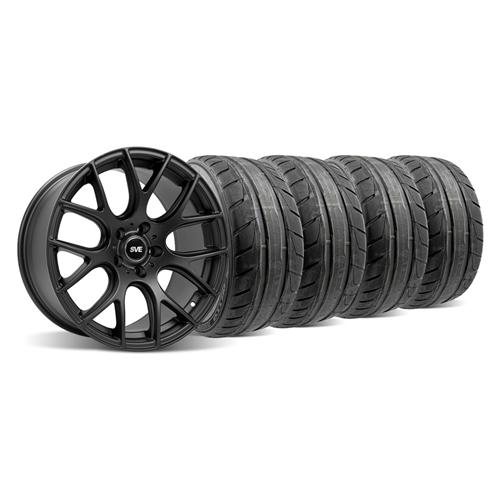 94-04 MUSTANG FLAT BLACK SVE DRIFT WHEEL & NITTO NT05 TIRE KIT - 18X9 - 94-04 MUSTANG FLAT BLACK SVE DRIFT WHEEL & NITTO NT05 TIRE KIT - 18X9