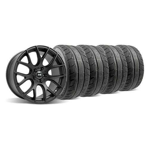 05-14 MUSTANG FLAT BLACK SVE DRIFT WHEEL & NITTO NT05 TIRE KIT - 19X9.5 - 05-14 MUSTANG FLAT BLACK SVE DRIFT WHEEL & NITTO NT05 TIRE KIT - 19X9.5