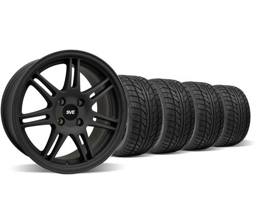 SVE Mustang Anniversary Wheel & Nitto Tire Kit - 17x9 Flat Black (79-93)