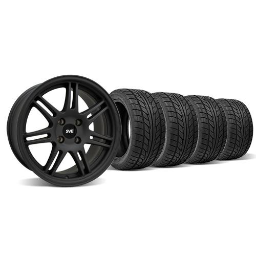 SVE Mustang Anniversary Wheel & Tire Kit - 17x9 Flat Black (79-93) Nitto NT555