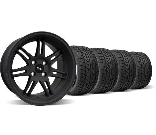 SVE Mustang Anniversary Wheel & Nitto Tire Kit - 17x9/10 Flat Black (79-93)