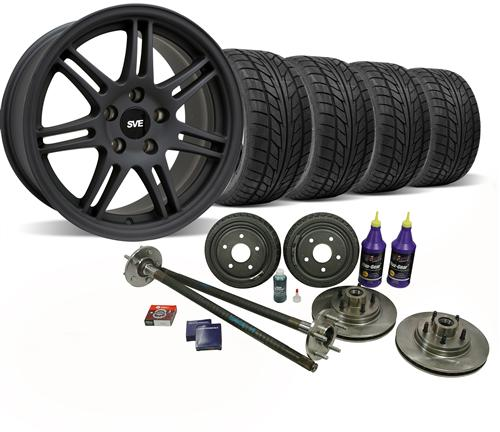 SVE Mustang 5-Lug Conversion Wheel & Tire Kit - 17x9 Flat Black (87-93) Nitto NT555