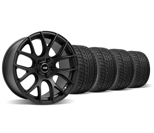 SVE Mustang Drift Wheel & Tire Kit - 18X9/10 Flat Black (94-04) Staggered Nitto NT555