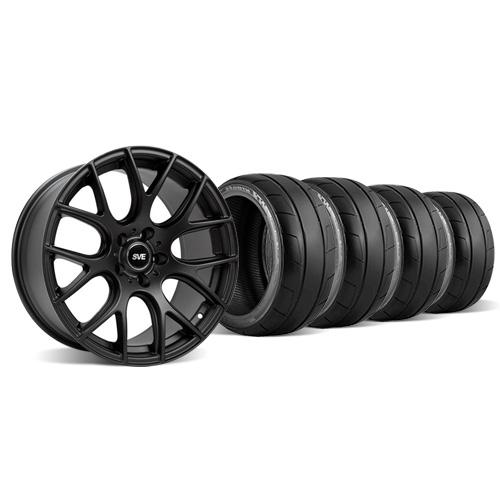 SVE Mustang Drift Wheel & Tire Kit - 18X9/10 Flat Black (94-04) Staggered Nitto NT05