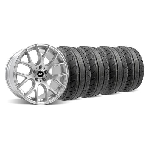 94-04 MUSTANG FLAT SILVER SVE DRIFT WHEEL & NITTO NT05 TIRE KIT - 18X9/10 - 94-04 MUSTANG FLAT SILVER SVE DRIFT WHEEL & NITTO NT05 TIRE KIT - 18X9/10