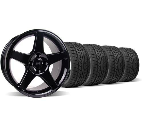 Mustang 03 Cobra Wheel & Tire Kit - 17x9 Black (79-93) Nitto NT555