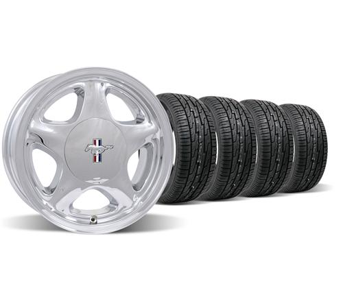 Mustang Pony Wheel & Tire Kit - 16x7 Chrome (79-93)