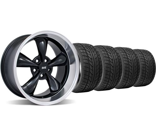 Mustang Staggered Bullitt Wheel & Tire Kit - 18x9/10 Black W/ Machined Lip (94-04) Nitto NT555