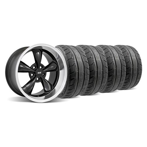 94-04 MUSTANG BLACK DEEP DISH BULLITT WHEEL & NITTO NT05 TIRE KIT - 18X9/10