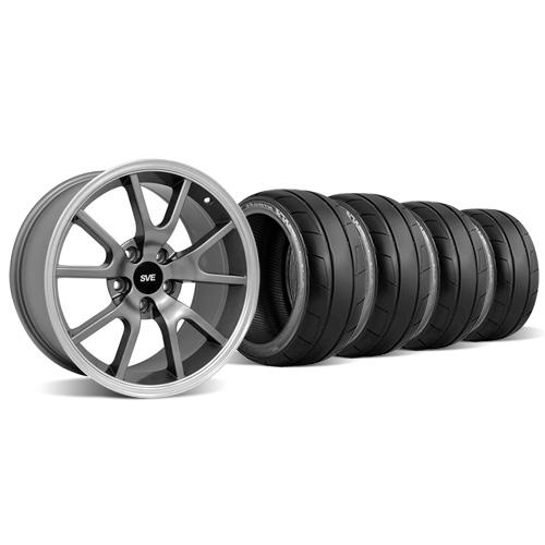 Mustang FR500 Wheel & Tire Kit - 18x9 Anthracite (94-04) Nitto NT05 - Mustang FR500 Wheel & Tire Kit - 18x9 Anthracite (94-04) Nitto NT05