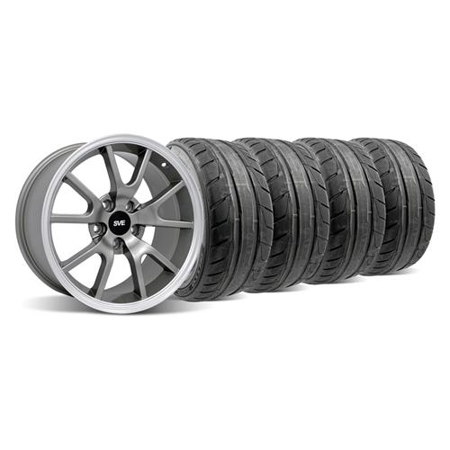 94-04 MUSTANG ANTHRACITE FR500 WHEEL & NITTO NT05 TIRE KIT - 18X9