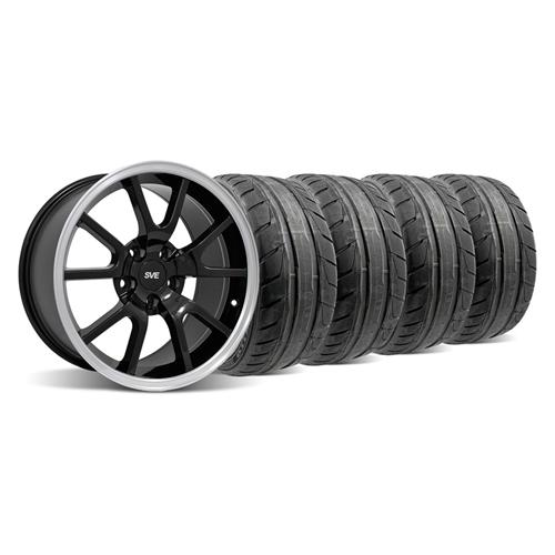 Mustang FR500 Wheel & NT05 Tire Kit - 18x9 Black (94-04)