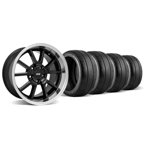 Mustang Deep Dish FR500 Wheel & Tire Kit - 18x9/10 Black (94-04) Nitto NT05