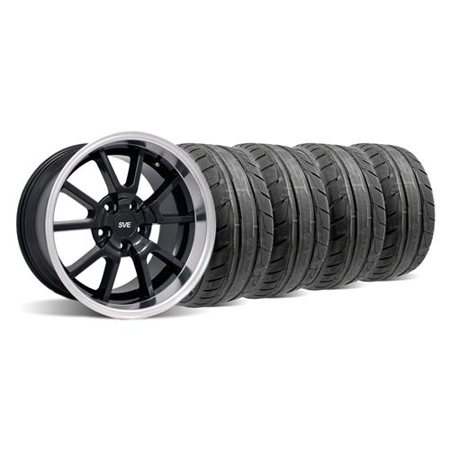 Mustang Deep Dish FR500 Wheel & NT05 Tire Kit - 18x9/10 Black (94-04)