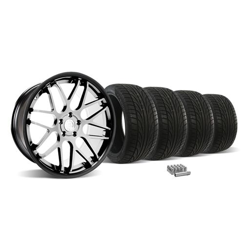 Mustang Downforce Wheel & Tire Kit - 20x8.5/10  Matte Black w/ Machined Face (05-14)