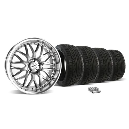 Mustang SVE Series 3 Wheel & Tire Kit - 20x8.5/10 Gunmetal w/ Mirror Lip (05-14)