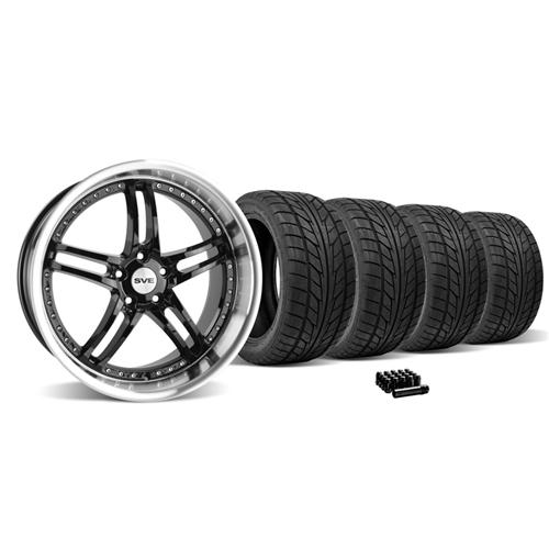 Mustang SVE Series 2 Wheel & Tire Kit - 20X8.5/10 Black w/ Mirror Lip (05-14)