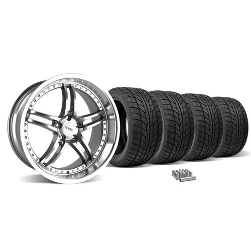 Mustang SVE Series 2 Wheel & Tire Kit - 20X8.5/10 Gunmetal w/ Mirror Lip (05-14)