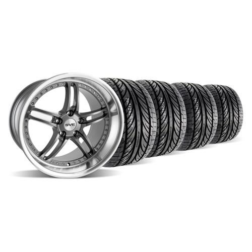 "SVE Mustang Series 2 Wheel & Tire Kit - 19x9/10"" Gun Metal w/ Polished Lip (05-14)"