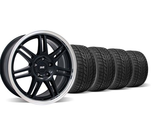 SVE Mustang Anniversary Wheel & Tire Kit - 17x9 Black (94-04) Nitto NT555