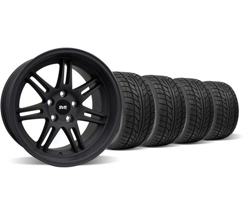 SVE Mustang Anniversary Staggered Wheel & Tire Kit Flat Black - 17x9/10 (94-04) Nitto NT555