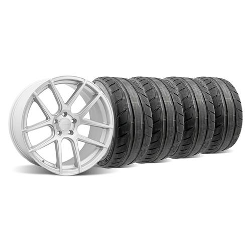 2005-14 Mustang Velgen VMB5 Matte Silver Wheel and Nitto NT05 Tire Kit 20x9 and 10.5