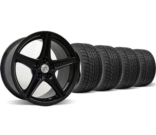 Mustang Staggered Saleen Wheel & Tire Kit - 18x9/10 Black (94-04) Nitto NT555